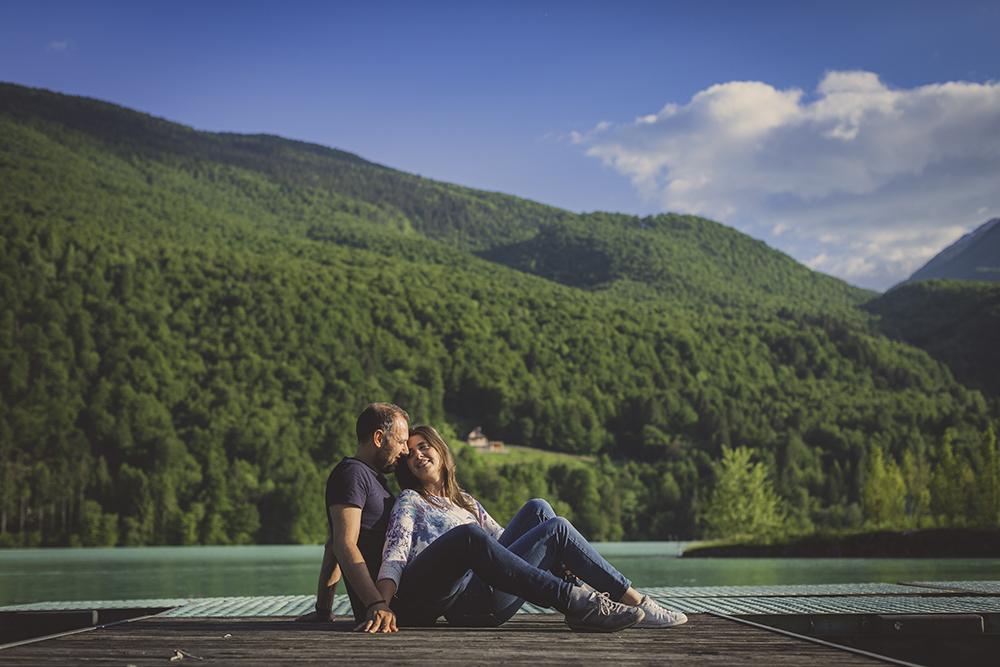 foto di matrimonio sul lago di Barcis